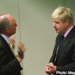 Livingstone meets with Boris Johnson just minutes after the 2008 election results are declared
