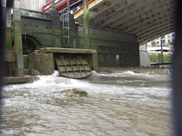 Sewer overflow point at Vauxhall. Photo: Thames Water