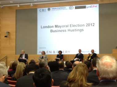 London's business community questioned the candidates
