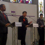 James Cleverly, Val Shawcross and Caroline Pidgeon. Image: Victoria Borwick