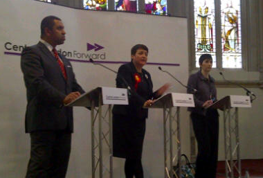 James Cleverly, Val Shawcross and Caroline Pidgeon. Image: Victoria Borwick