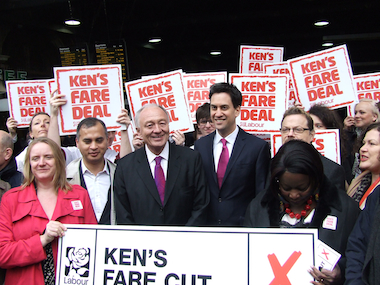 Mr Livingstone campaigning with Labour party leader Ed Miliband. Image: MayorWatch
