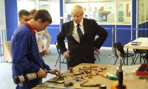 Boris Johnson meeting apprentices at Pimlico Plumbers during the 2008 Mayoral campaign.